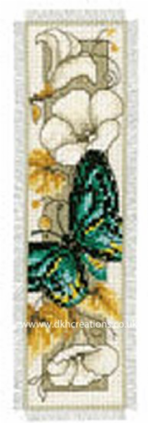 Blue Green Butterfly On Flowers Bookmark Cross Stitch Kit